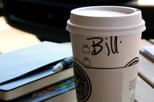 Name hand-written on starbucks coffee cup