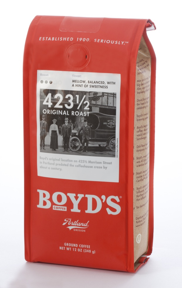 boyd's coffee new package with black and white photos