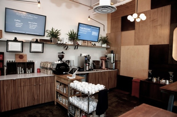 The coffee bar at Jack Dorsey's Square office