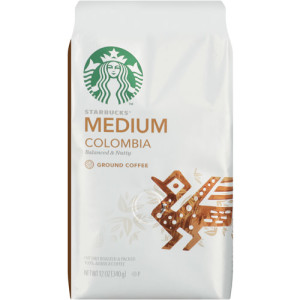 A 12-ounce bag of Starbucks Colombia blend retails for $7.67 at Wal-Mart