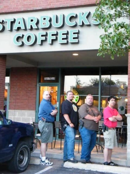 Image result for guns at coffee stand images