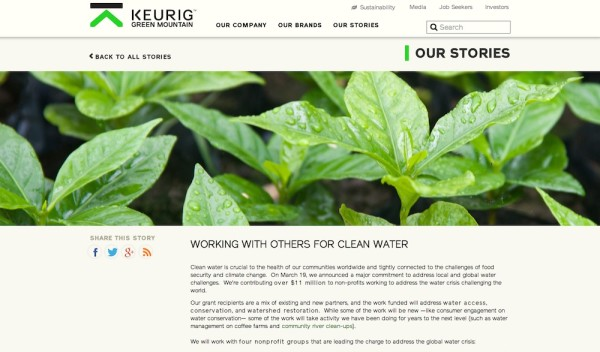 Keurig Green Mountain tells the story of its most recent water investment.
