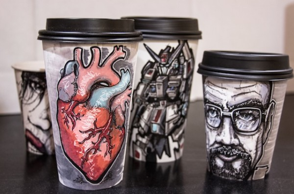 Miguel Cardona coffee cup art