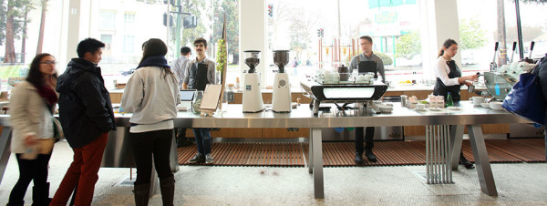 Blue bottle coffee cafe tables