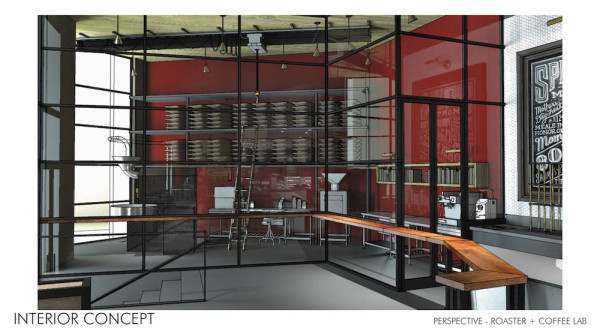 Rendering of the new Sambalatte coffee lab and roastery
