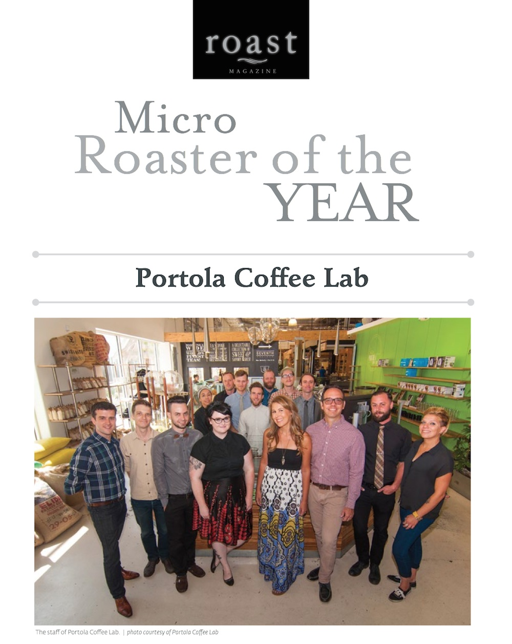 Roast Magazine 2014 Roaster of the Year Portola Coffee Lab