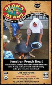 Licensed photos on the back of Dean's Beans bags. Pictured is Aminah from the village of Tanah Abu, Sumatra.