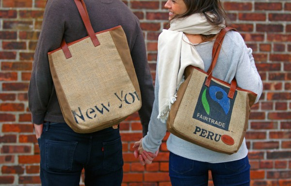 burlap coffee leather bags