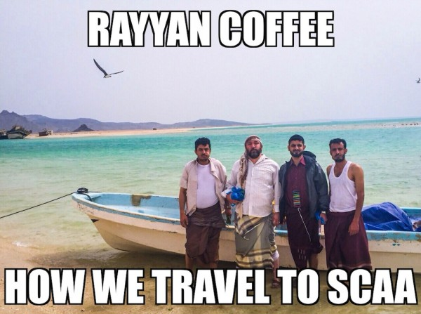 Nicholson's cousin created these memes to capitalize on the media exposure leading to the SCAA Event. Nicholson is pictured middle left, while Alkhanshali, of Mocha Mill, is pictured middle right.