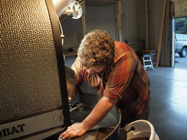 CJ Speelman of Tanager Coffee roasting at Aspect. Photo by Emily McIntyre.