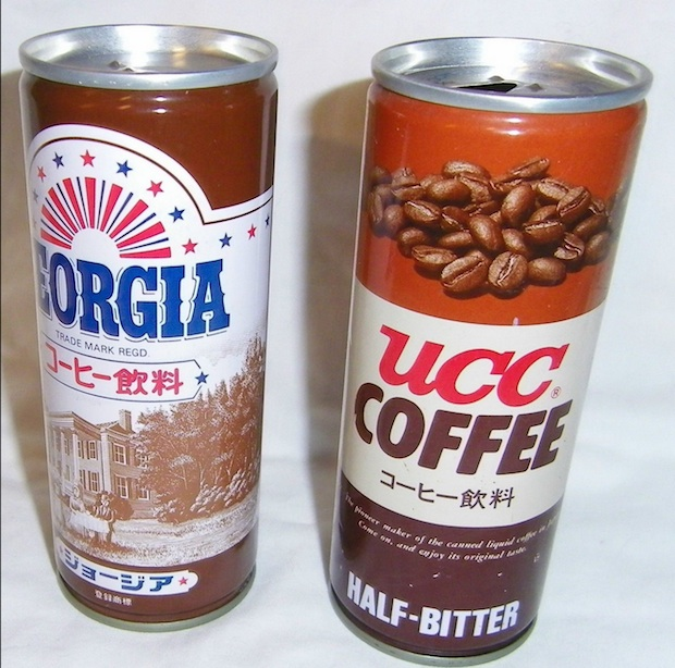 "Vintage UCC coffee can pictured next to a bottled ""Georgia"" coffee drink, made by Coca-Cola for the Japan market."