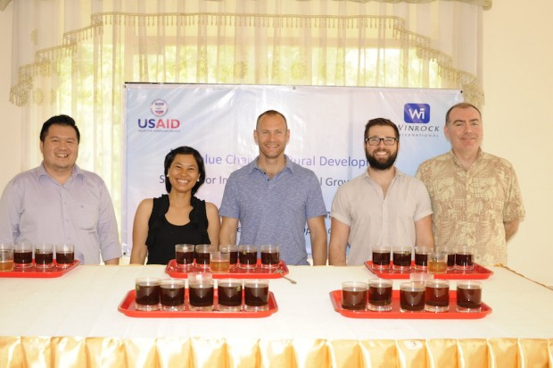 "Competition judges from left to right: Wai Phone (Coffee Circles, Myanmar), Nisakorn ""Bay"" Sinsawat (Coffeeas, Thailand), Craig Holt (Atlas Coffee Importers, U.S.A.), Matt Graylee (Flight Coffee, New Zealand), Andrew Hetzel (CafeMakers, U.S.A.)"