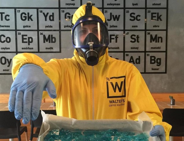 Blue Ice, Glass Beakers and Yellow Hazmat Suits at Walter's Coffee in Istanbul