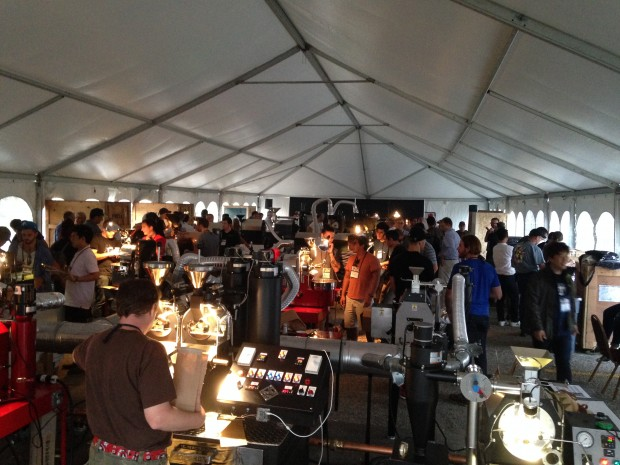 The roasting tent, a marvel of on-the-fly engineering. Daily Coffee News photo.
