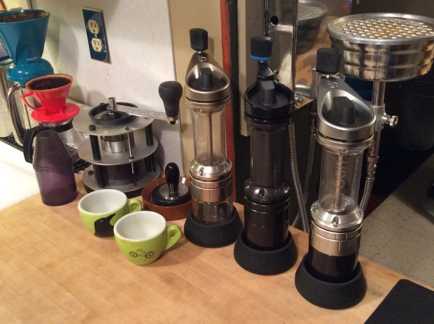 The complete evolutionary line of Orphan Espresso hand grinders at the Garotts' home workshop in Idaho.