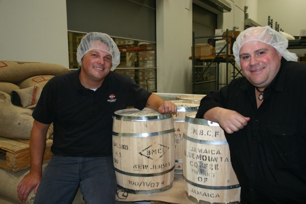 Di Bella Coffee Production Manager David Sager (left) and Phillip Di Bella.