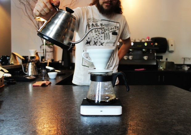 Brandywine coffee being prepared with a V60. All images courtesy of Brandywine Coffee Roasters.
