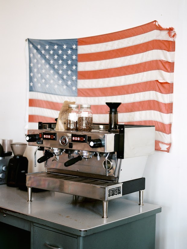 A vintage La Marzocco Linea in the cupping lab.