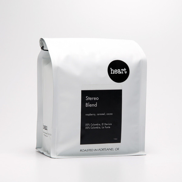 A bag of the Heart Roasters Stereo Blend.