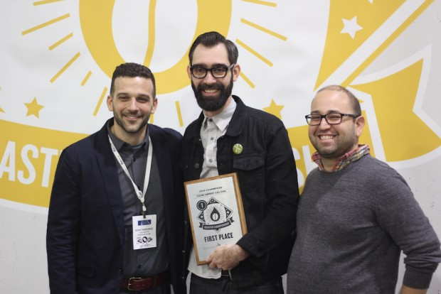 Querio pictured with Noah Namowicz (left) and Piero Cristiani (right) of Cafe Imports. Daily Coffee News photo.