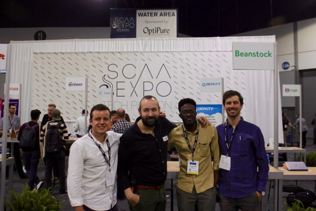 At the SCAA Event, Beanstock co-founders Manuel Jimenez (far left), Lere Williams (center right) and Nick Spilger (far right) pictured with Stephen Morrissey.