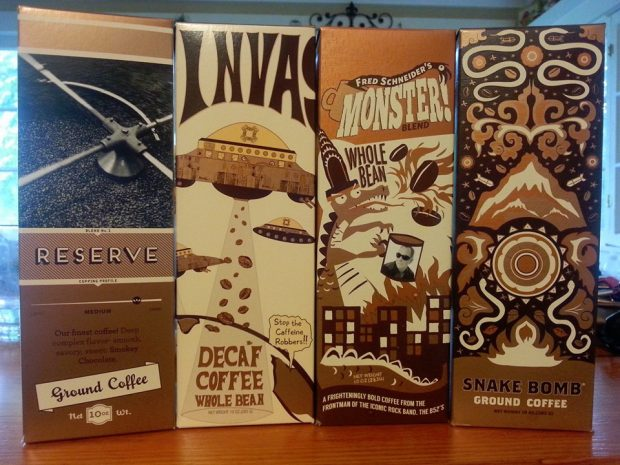 Fred Schneider's Monster Blend among Breyting's other packaged coffee offerings.