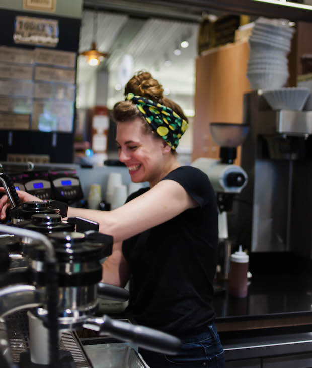 Lindsey Ribeiro at George Howell Coffee at the Boston Public Market. Photo: Josh Littlefield
