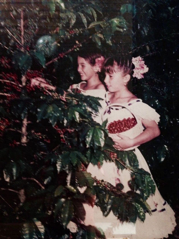 Palacio (left) picking ripe cherries in 1988.