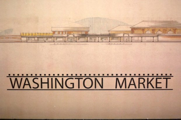 Washington market architectural drawing handing inside Porter. Daily Coffee News photo.
