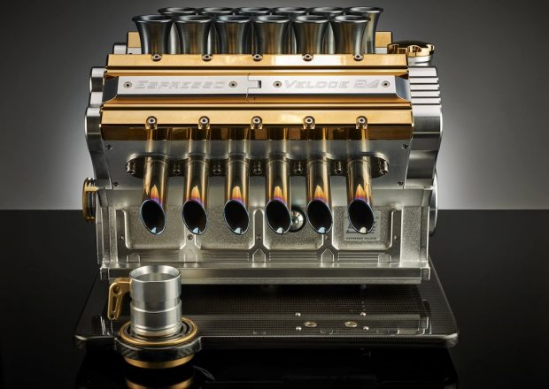 The Espresso Veloce V-12 Aurum model with 18ct gold plating.