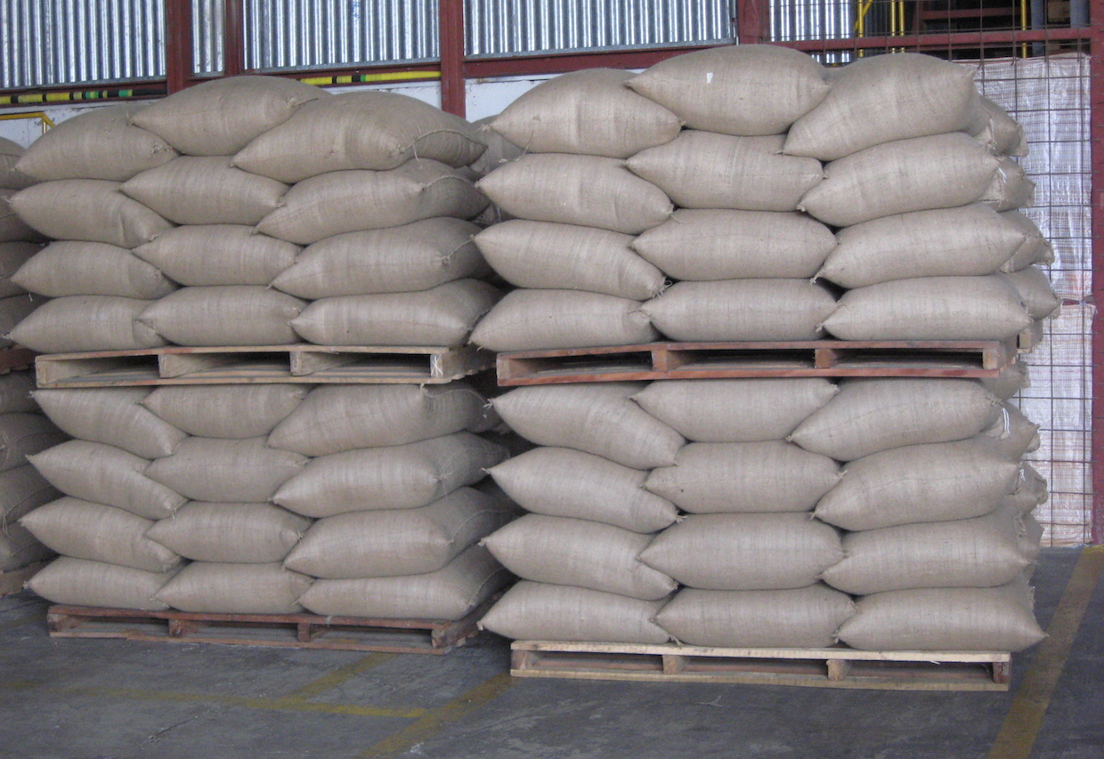 """201 Coffee bags in the warehouse"" by Shared Interest is licensed under CC BY 2.0"