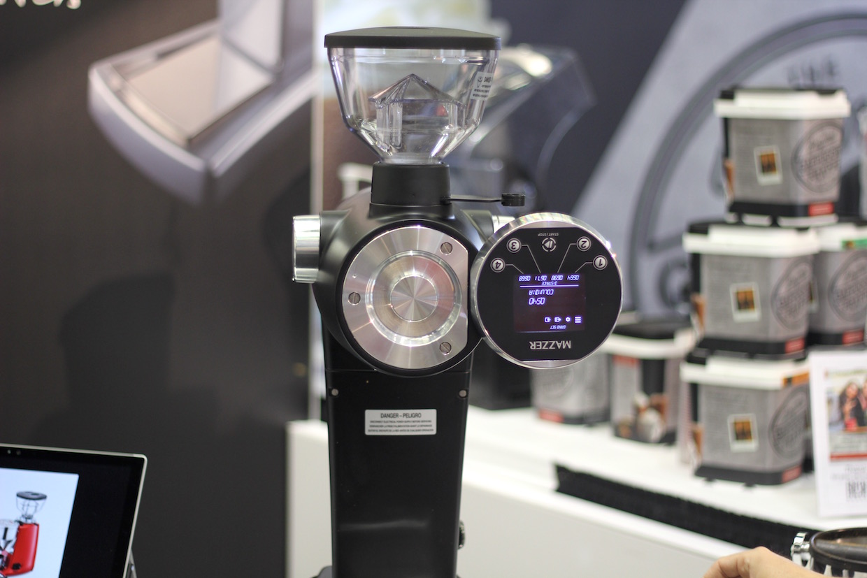 The Mazzer ZM removable touchscreen for easier cleaning and maintenance. Daily Coffee News photo.