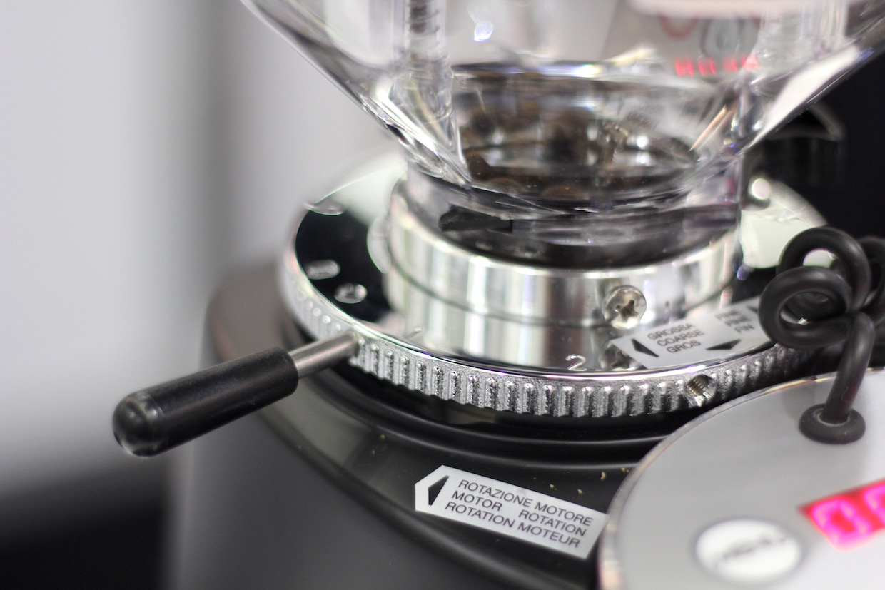 The Mazzer Mini collar. Daily Coffee News photo.