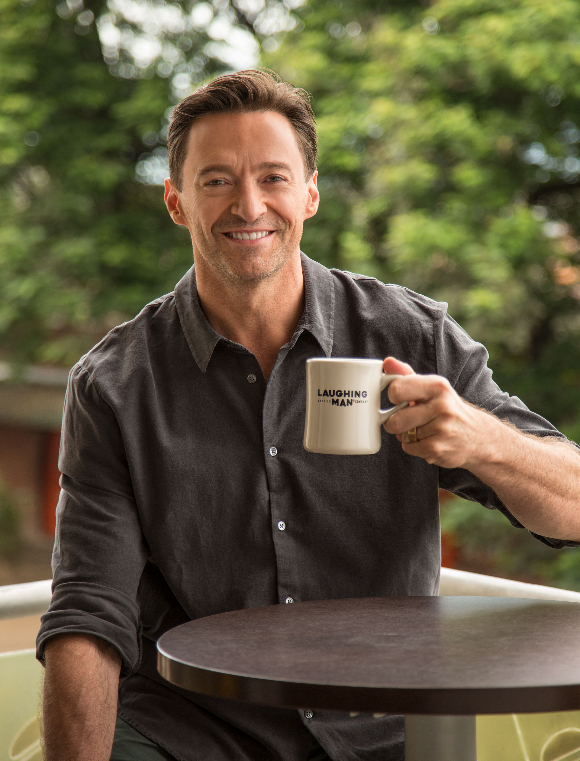 laughing man coffee hugh jackman