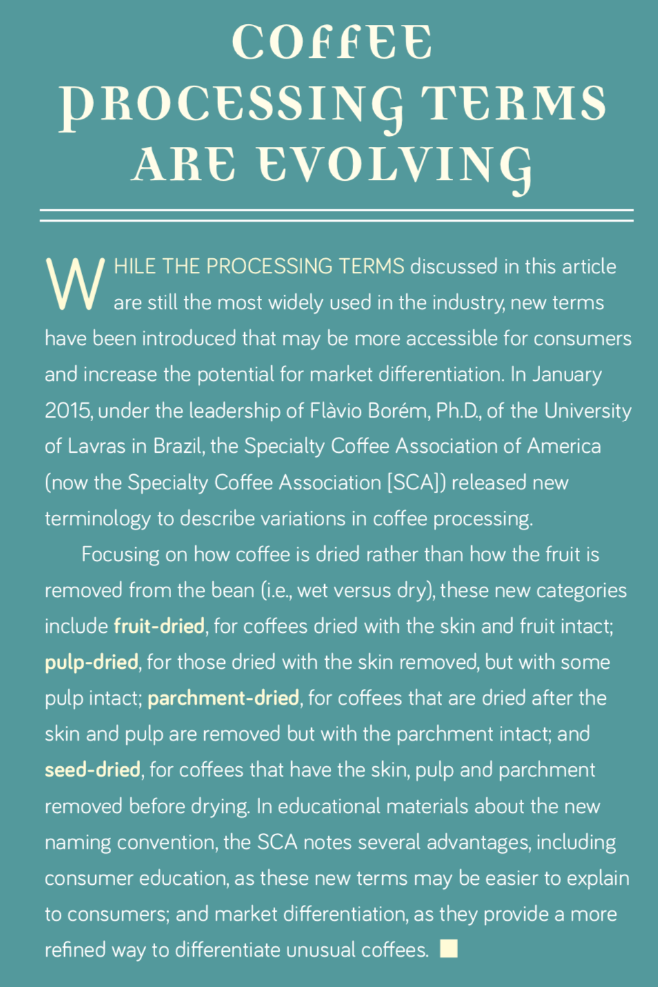 Coffee Processing Terms